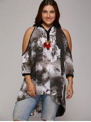 Plus Size Cold Shoulder Ink Painting Blouse - GRAY