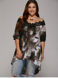 Plus Size Lace Trim High Low Hem Blouse - GRAY