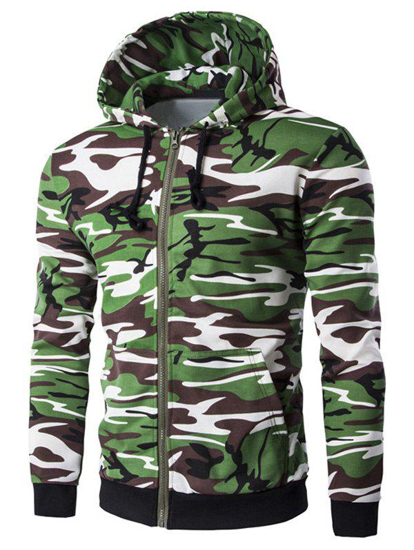 Unique Camo Rib Spliced Zip Up Long Sleeve Hoodie For Men