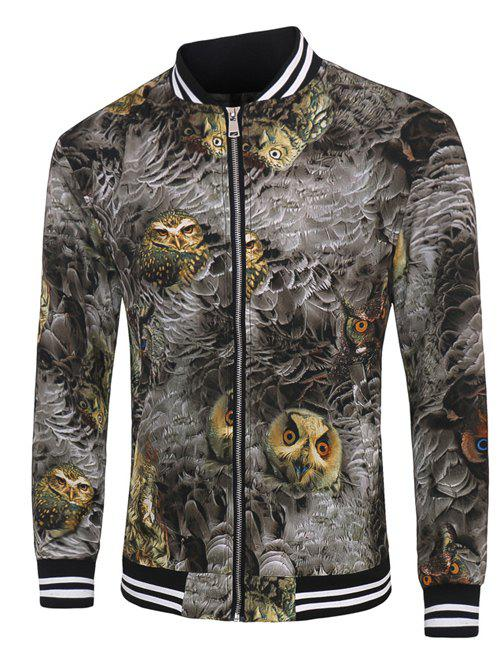 Varsity Stripe Garniture Zippered Feather Owl 3D Print Jacket pour les hommes Gris M