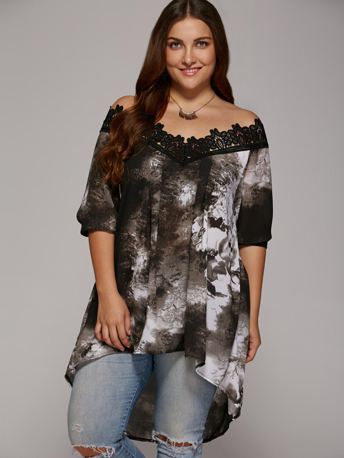 Plus Size Lace Trim High Low Hem BlouseWOMEN<br><br>Size: 2XL; Color: GRAY; Material: Polyester; Shirt Length: Regular; Sleeve Length: Half; Collar: Off The Shoulder; Style: Fashion; Season: Spring,Summer; Embellishment: Lace; Pattern Type: Floral; Weight: 0.2040kg; Package Contents: 1 x Blouse;