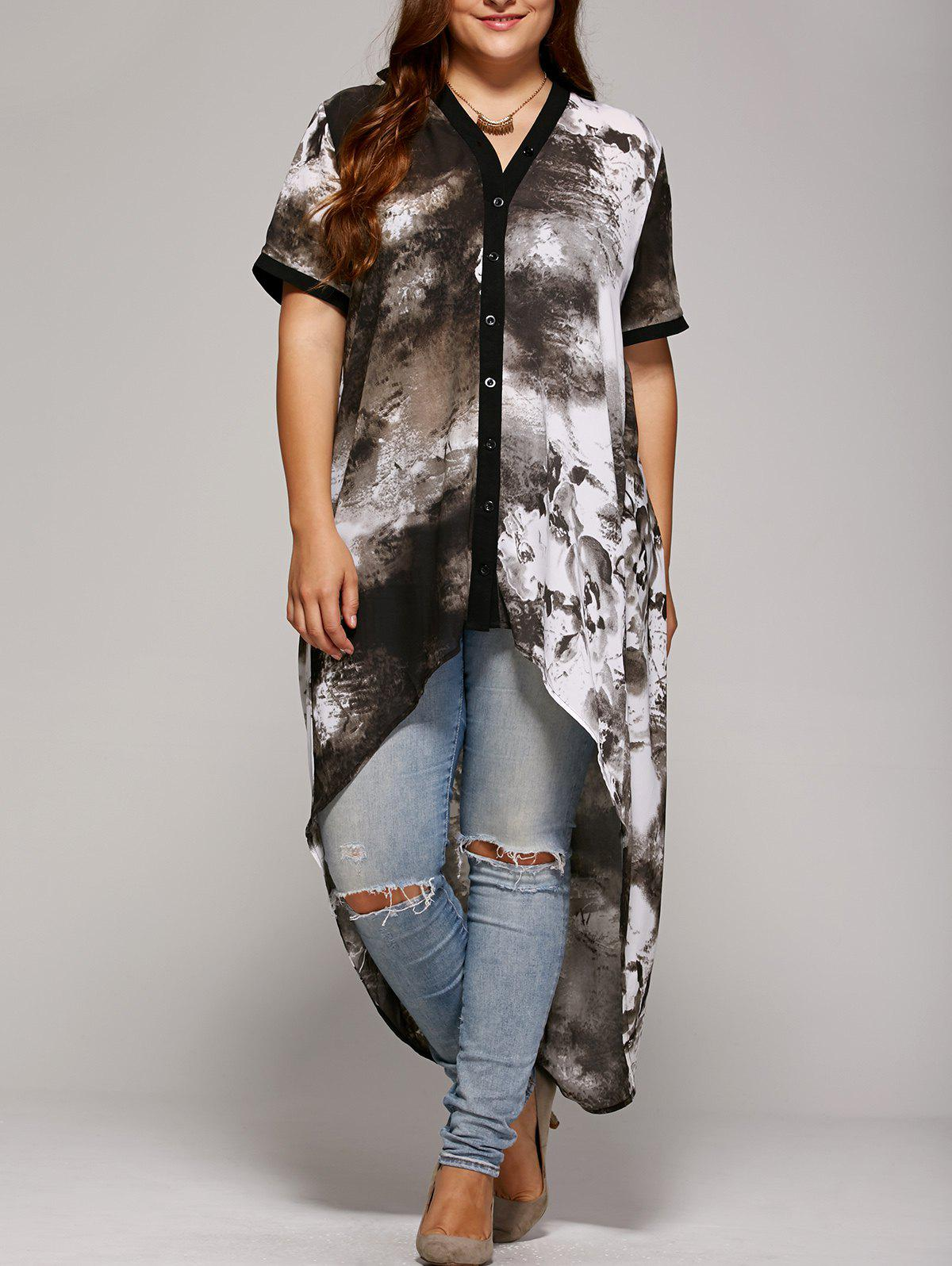 Gray Plus Size Single Breasted Asymmetrical Blouse