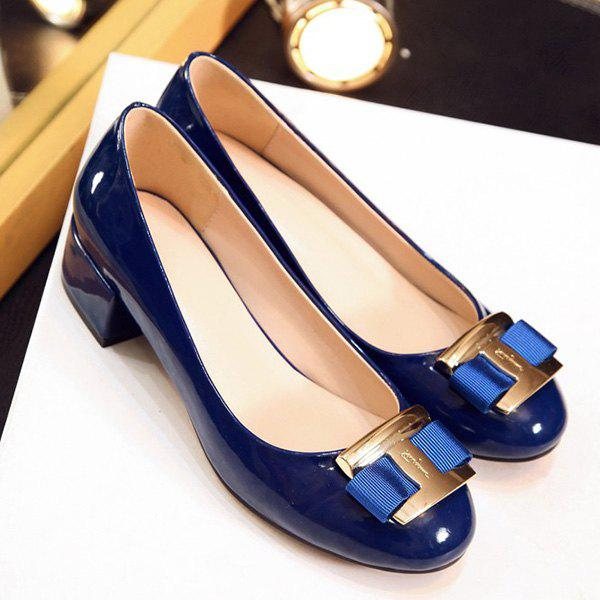 Outfit Elegant Metal and Patent Leather Design Flat Shoes For Women