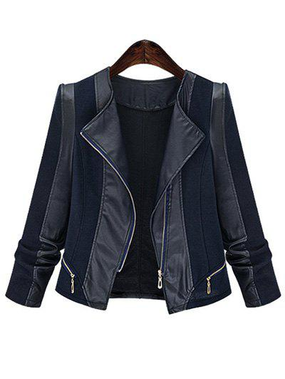 Shop Plus Size Chic Zipped Leather Patchwork Jacket For Women