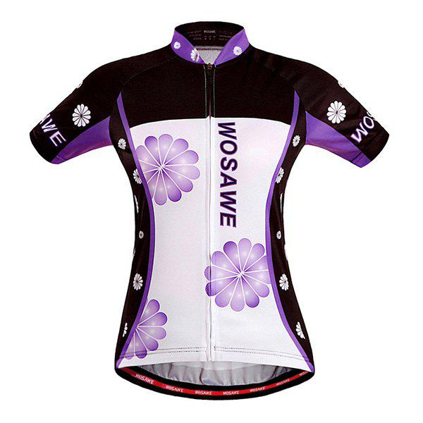 Latest Stylish Sportware Purple Flower Design Zipper Cycling Short Jersey For Women