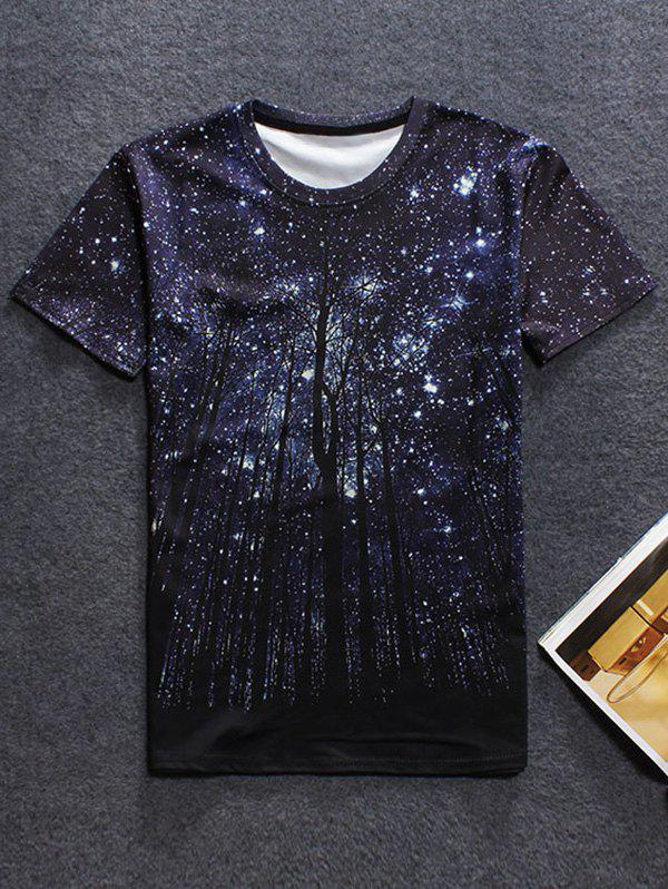 3D Galaxy Print Short Sleeve T-ShirtMEN<br><br>Size: L; Color: BLACK; Style: Casual; Material: Cotton Blends; Sleeve Length: Short; Collar: Round Neck; Embellishment: 3D Print; Pattern Type: Star; Weight: 0.187kg; Package Contents: 1 x T-Shirt;
