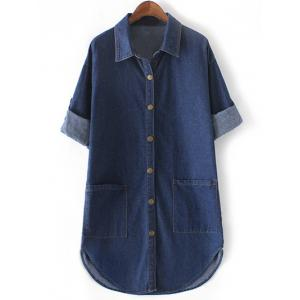 Brief Plus Size Double Pockets Denim Shirt