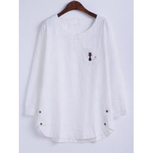 Oversized Sweet Kitten Embroidery Hollow Out Blouse