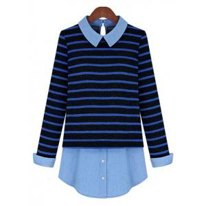 Stylish Striped Patchwork Shirt For Women - Blue And Black - 2xl