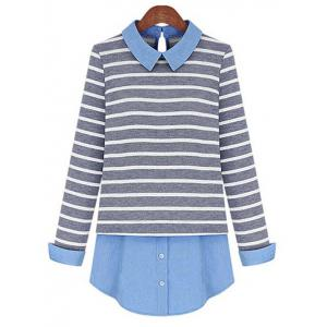 Stylish Striped Patchwork Shirt For Women - Grey And White - Xl