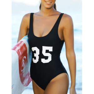 Charming U Neck Number Print Backless Women's Swimwear