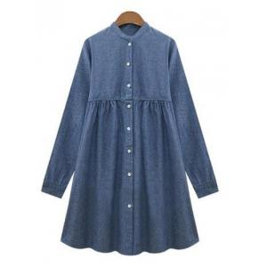 Casual Long Sleeve Ruched Denim Dress For Women