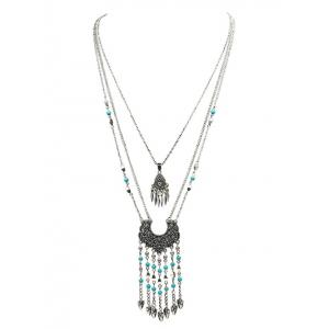 Ethnic Embossed Fringed Layered Necklace