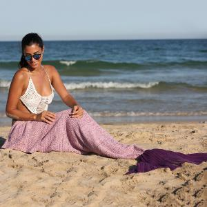 Simple Style Ombre Color Knitting Mermaid Shape Blanket - Pink And Purple - 180*90cm