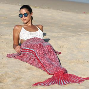 High Quality Knitting Mermaid Tail Style Soft Blanket - Red - Euro King