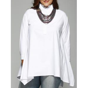 Trendy Plus Size Stand Collar Asymmetrical Shirt