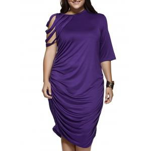 Strappy Sleeve Pure Color Baggy Dress