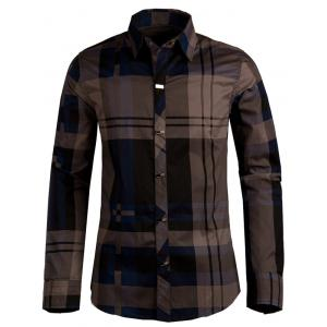 Plaid Snap Button Turn-down Collar Long Sleeve Shirt For Men - Deep Blue - L