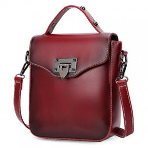 Retro Style Metal and PU Leather Design Shoulder Bag For Women - Wine Red - 39