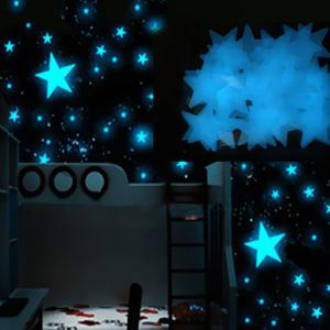 Chic 3CM 100Pcs Dark Blue Stars Luminous Plastic Wall Stickers