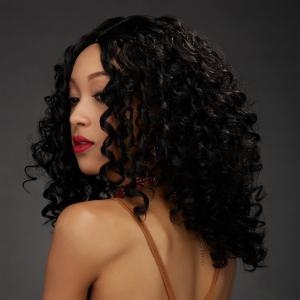 Medium Impressive Centre Parting Black Afro Curly Women's Synthetic Hair Wig - Black - 24inch