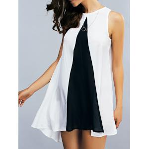 Two Tone Chiffon Tank Tunic Dress - White And Black - S