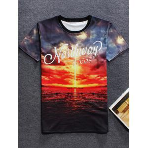 3D Sunset Printed Crew Neck T Shirt