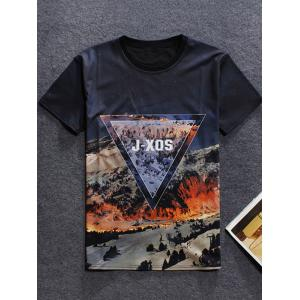 3D Mountain Printed Round Neck Short Sleeve T-Shirt For Men