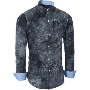 Ethnic Tie-Dyed Turn-Down Collar Long Sleeve Shirt For Men