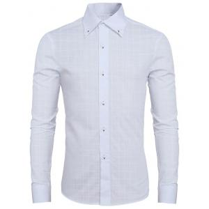 Trendy Dark Plaid Turn-Down Collar Long Sleeve Shirt For Men