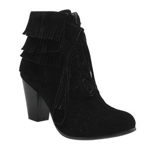 Trendy Tie Up and Tassels Design Ankle Boots For Women
