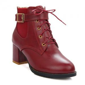 Fashionable Buckle and Elastic Band Design Ankle Boots For Women - Wine Red - 37