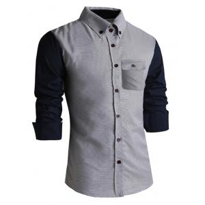 Classic Spliced Turn-Down Collar Long Sleeve Shirt For Men -