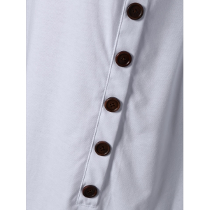 Pure Color Button Asymmetric Blouse - WHITE XL