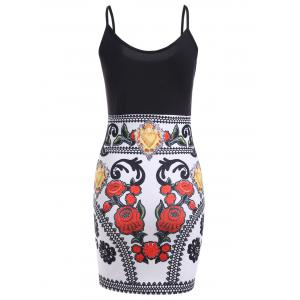 Color Block Floral Sleeveless Bodycon Dress - BLACK/WHITE/RED S