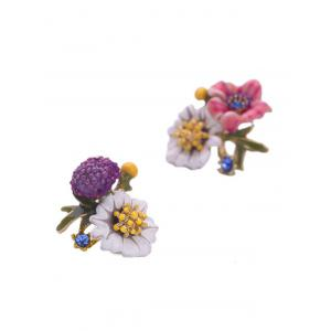Pair of Enamel Flower Stud Earrings -