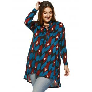 Chic Plus Size Side Slit Graphic Shirt -