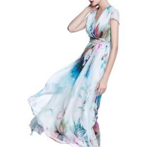 Surplice Long Printed Flowy Dress -