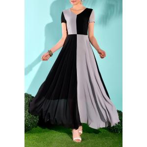 Maxi Color Block Short Sleeve Flowy Dress