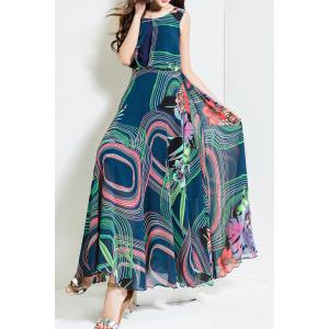 Geometric Print High Waisted Maxi Dress