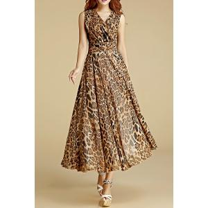 Crossed Leopard Print Chiffon Dress
