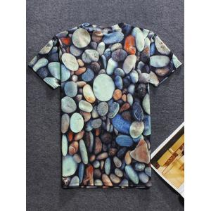 Cobblestone 3D Print Short Sleeve Round Neck T-Shirt For Men - COLORMIX 2XL