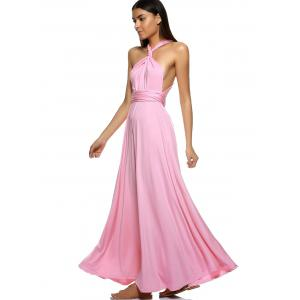 Elegant Pure Color Multiway Wear Backless Maxi Dress -