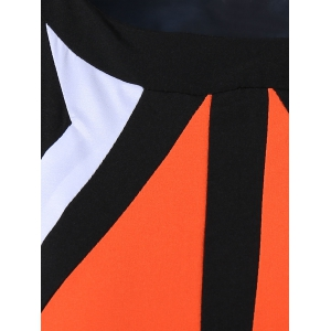 Mini Geometric Sheath Dress - BLACK/ORANGE 2XL