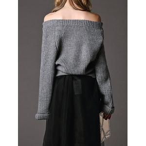 Pure Color Off The Shoulder Pullover Sweater -