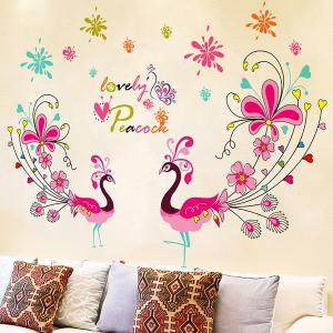 1 Pcs Love Peacock Living Room PVC Removable Wall Stickers - COLORMIX