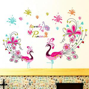1 Pcs Love Peacock Living Room PVC Removable Wall Stickers -
