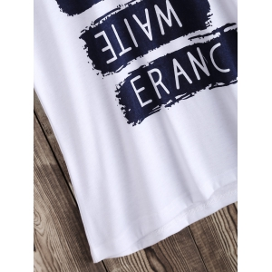 Casual Letter Pattern Tee - WHITE XL