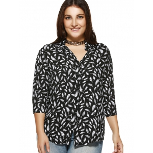 Plus Size Feather Printed 3/4 Sleeve Shirt -