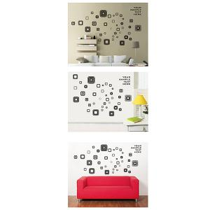 Fashion Square Removable Wall Art Stickers For Bedrooms - BLACK/GREY